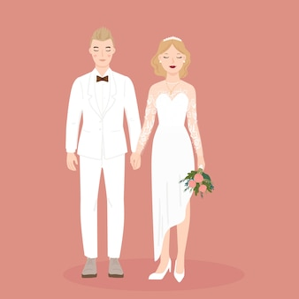 Illustration of couple bride and groom for wedding