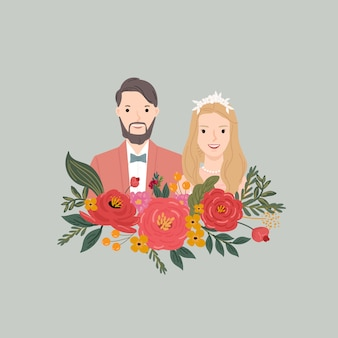 Illustration of couple bride and groom with flower background. for wedding invitation card, poster, art print, gift.