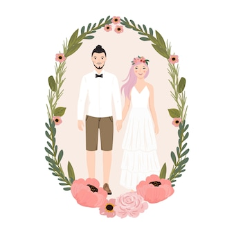 Illustration of couple bride and groom with flower wreath. for wedding invitation card, poster, art print, gift.