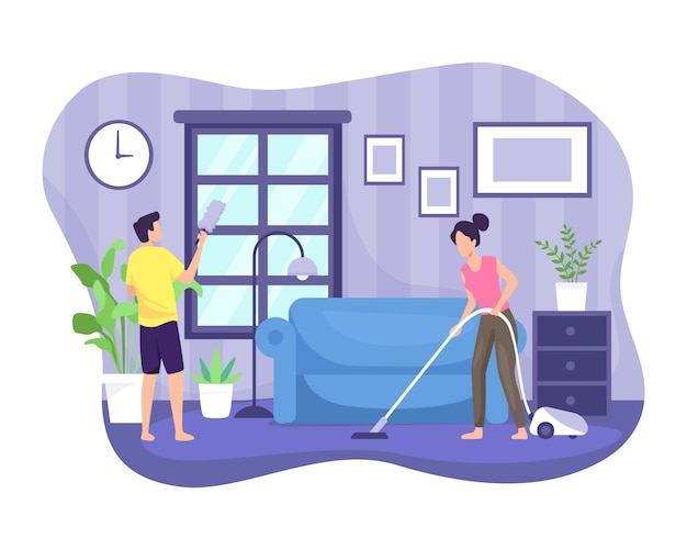 Illustration couple cleaning the house