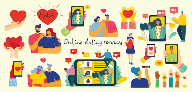 Illustration of a couple having an online romance