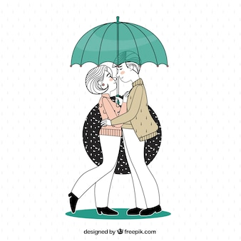 Illustration of couple in love under an umbrella