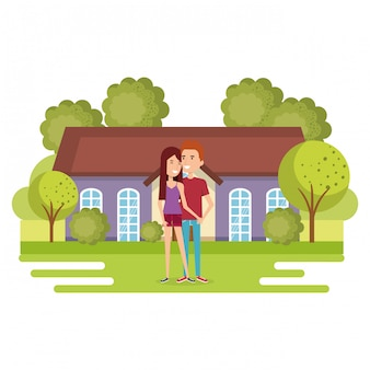 Illustration of couple of lovers away from home