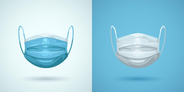 Illustration of couple medical face masks isolated front view