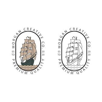 ラインアートと帆船ヴィンテージロゴのイラストカップル