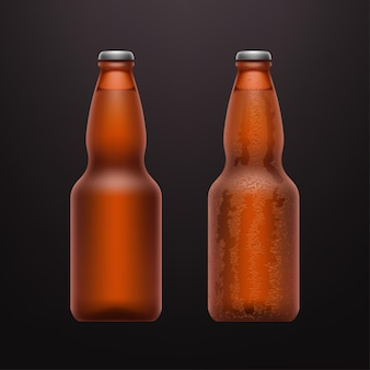 Illustration of couple of realistic cold beer bottles on dark
