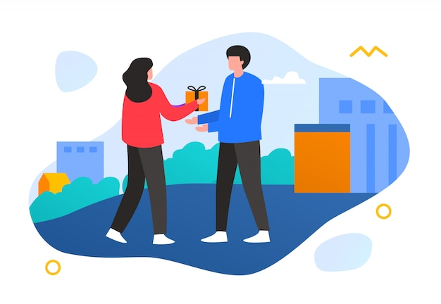 Illustration couple woman give the gift to man building concept
