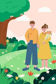 The illustration of couples outings in spring