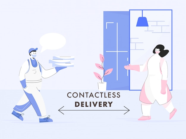 Illustration of courier boy giving parcel boxes to customer woman with maintaining social distance for contactless delivery during coronavirus.