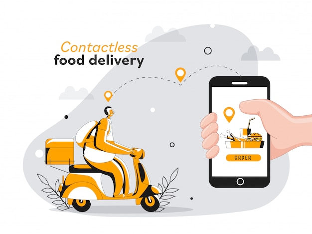 Illustration of courier man riding scooter with location tracking app in smartphone for contactless food delivery concept.
