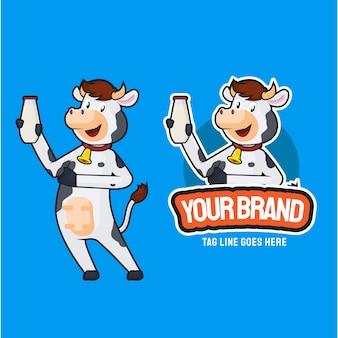 Illustration of cow chef cartoon character mascot