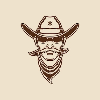 Illustration of cowboy head