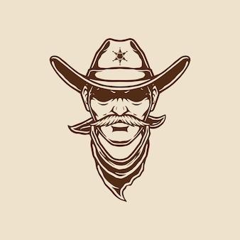 Illustration of cowboy head