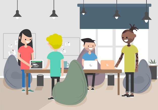 Illustration of coworking space. working place, office. modern office. millennials at work.