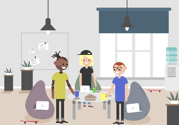 Illustration of coworking space. working place, office. modern office. millennials at work