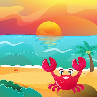 Illustration of a crab animal happily on the beach in the afternoon vector