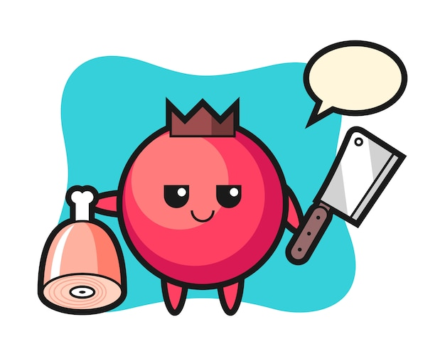 Illustration of cranberry character as a butcher, cute style , sticker, logo element
