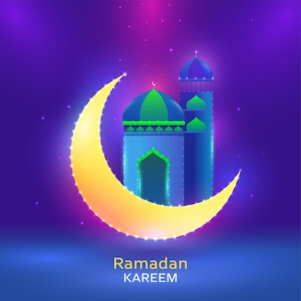 Illustration of crescent moon with mosque and lighting