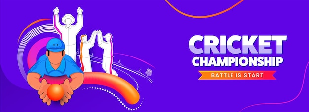 Illustration of cricket player team in different poses with blend wave on violet background for championship battle is start.