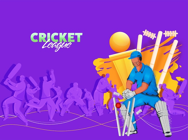 Illustration of cricket players in action pose with wickets and golden trophy cup on purple background.