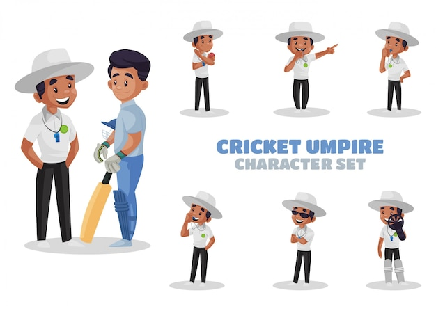 Illustration of cricket umpire character set