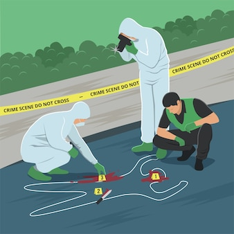 Illustration of crime scene investigation