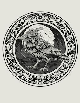 Иллюстрация ворона птица на круг гравировка орнамент