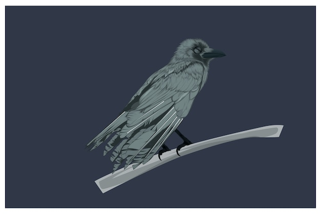 Illustration of a crow while sleeping hand drawing