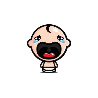 Illustration a crying baby character