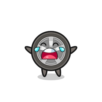 The illustration of crying car wheel cute baby , cute style design for t shirt, sticker, logo element