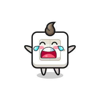 The illustration of crying light switch cute baby , cute style design for t shirt, sticker, logo element