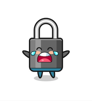 The illustration of crying padlock cute baby , cute style design for t shirt, sticker, logo element