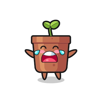 The illustration of crying plant pot cute baby , cute style design for t shirt, sticker, logo element
