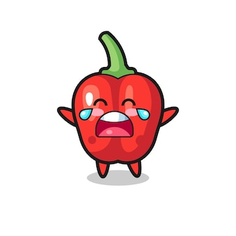 The illustration of crying red bell pepper cute baby , cute style design for t shirt, sticker, logo element
