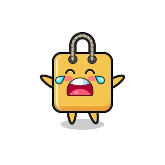 The illustration of crying shopping bag cute baby , cute style design for t shirt, sticker, logo element