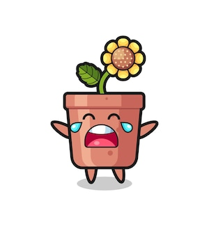 The illustration of crying sunflower pot cute baby , cute style design for t shirt, sticker, logo element