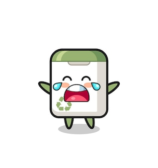 The illustration of crying trash can cute baby , cute style design for t shirt, sticker, logo element