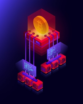 Illustration of cryptocurrency mining farm, big data processing for bitcoin, blockchain isometric concept in violet and red colors