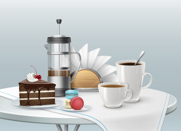 Illustration of cup of coffee with piece of chocolate cake on a plate