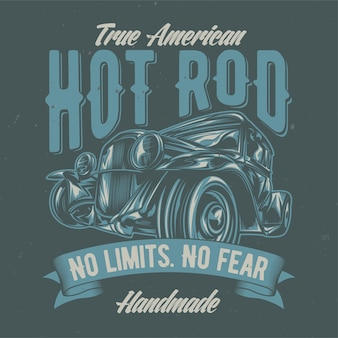 Illustration of custom hot rod. hand drawn illustration.