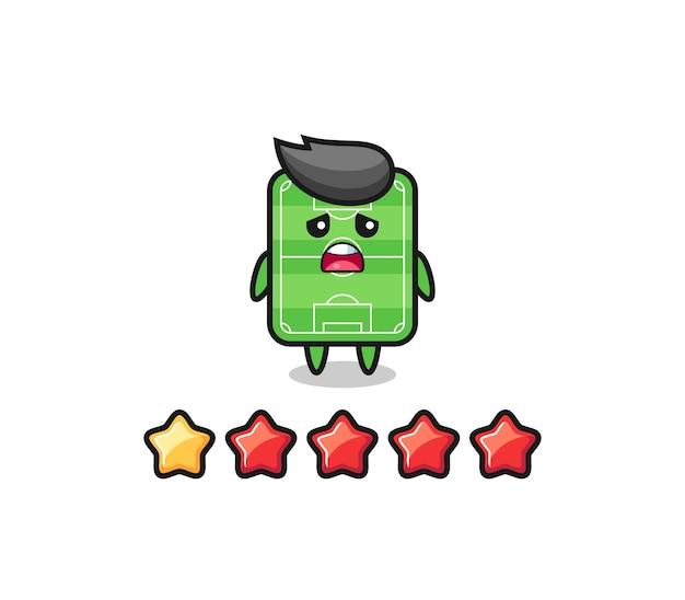 The illustration of customer bad rating, football field cute character with 1 star , cute style design for t shirt, sticker, logo element