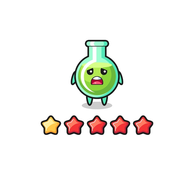 The illustration of customer bad rating, lab beakers cute character with 1 star , cute style design for t shirt, sticker, logo element