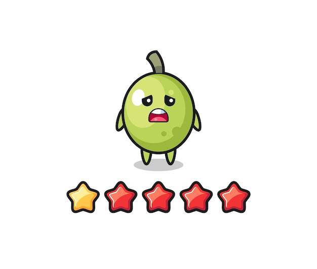 The illustration of customer bad rating, olive cute character with 1 star , cute style design for t shirt, sticker, logo element