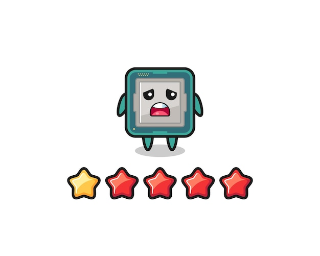 The illustration of customer bad rating, processor cute character with 1 star , cute style design for t shirt, sticker, logo element