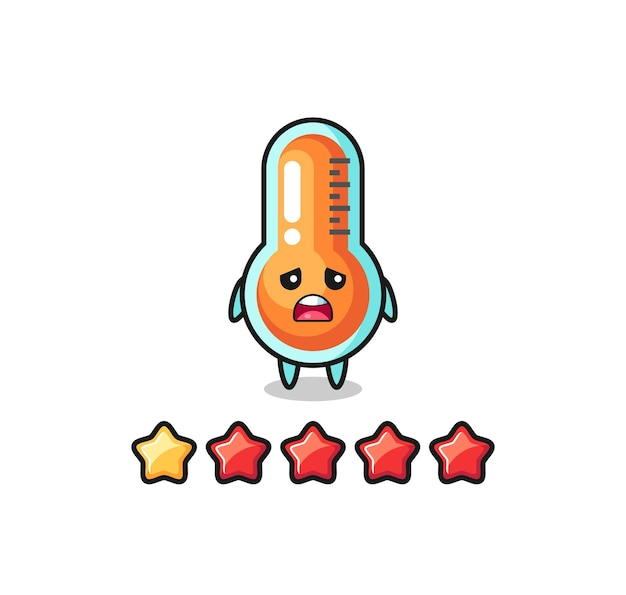 The illustration of customer bad rating, thermometer cute character with 1 star , cute style design for t shirt, sticker, logo element