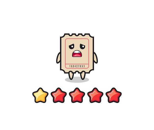 The illustration of customer bad rating, ticket cute character with 1 star , cute style design for t shirt, sticker, logo element