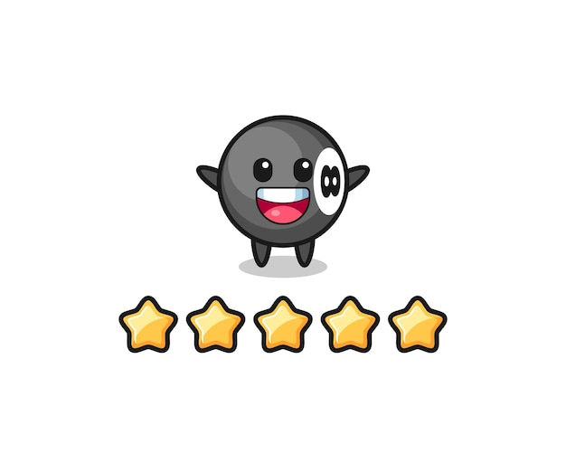 The illustration of customer best rating, 8 ball billiard cute character with 5 stars , cute style design for t shirt, sticker, logo element