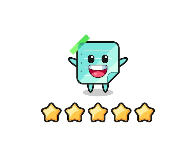 The illustration of customer best rating, blue sticky notes cute character with 5 stars , cute style design for t shirt, sticker, logo element