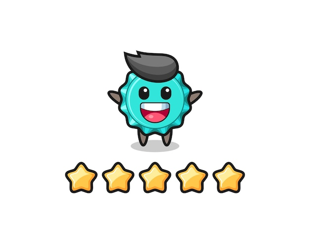The illustration of customer best rating, bottle cap cute character with 5 stars , cute style design for t shirt, sticker, logo element