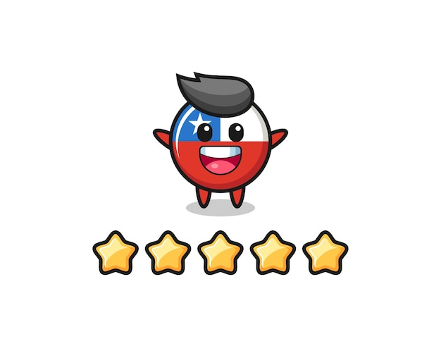 The illustration of customer best rating, chile flag badge cute character with 5 stars , cute style design for t shirt, sticker, logo element